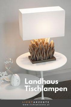 """Die Tischleuchte mit Holzfuß und eckigen Lampenschirm findest du bei Lichtakzente.at. Die eckige Tischlechte """"Snell"""" in Weiß trägt zur gemütlichen Beleuchtung im Esszimmer, Wohnzimmer, Schlafzimmer, Flur oder in einem Hotelzimmer bei. Lampe Tisch, Tischleuchte aus Treibholz // #leuchte #wohnen #beleuchtung #licht #interiordesign #lampen und leuchten #lichtakzente Interiordesign, Lighting, Home Decor, Bedroom Lamps, Decoration Home, Light Fixtures, Room Decor, Lights, Lightning"""