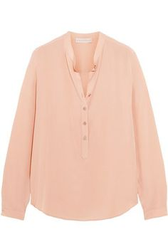 Blush silk crepe de chine Button fastenings along front 100% silk Dry clean Designer color: Rose