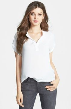 Free shipping and returns on Pleione Split Neck Blouse (Regular & Petite) at Nordstrom.com. In addition to an array of solids featuring a woven front and knit back, a soft-flowing blouse is available in several all-woven prints. The easy high/low cut is topped with a banded split neckline and cuffed short sleeves.