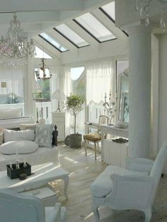 Gorgeous white living room, ideas for screened porch :)