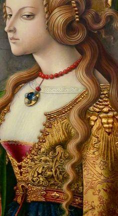"""Mary Magdalene"" (detail), 1480, by Carlo Crivelli (Italian, c.1435–1495)"