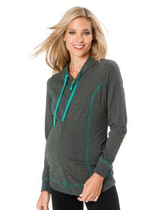 Destination Maternity Long Sleeve Jersey Knit Hooded Maternity Jacket