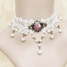 Handmade White Lace Fuchsia Rose Princess Lolita Necklace with Pearls