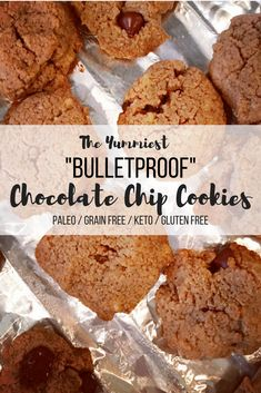 """Soft, chewy, and gooey! These """"Bulletproof"""" chocolate chip cookies are healthy and delish! Paleo, Keto, Gluten Free friendly. Recipe detail available at BlondeBeetNirvana.com #paleo #keto #bulletproofcoffee #healthyeating #cleaneating #glutenfree #dessert #healthy"""