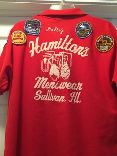 Nice red vintage bowling shirt. Size XL. Plenty of patches from the 70s. Great vintage shape! From Central Illinois.