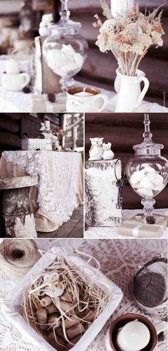 déco mariage hiver - fleurs desséchées, présentoirs en tronc d'arbre et arrangement de bouchons de liège et raphia