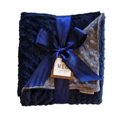 MEG Original Minky Dot Baby Boy Blanket Navy/Charcoal 374. Heavenly soft minky dot baby blanket. Machine wash, Tumble dry. Navy Blue on one side & Charcoal Gray on the other. Proudly made in the USA. Also available in crib blanket size!. At a measurement of 30 x 30, this blanket is perfect for snuggling baby into car seats & strollers.