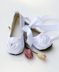 Flower Girl Shoes - Baby & Toddler shoes - Couture Ballet Slipper Toddler Shoe - White Lace Silk Rose - Baby sizes too - Baby Souls on Etsy, $34.00