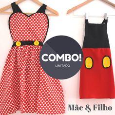 Combo de aventais inspirados na Minnie e no Mickey para Mães & Filhos.  Cozinhar com o pequeno será ainda mais divertido!