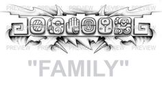 FAMILY Mayan Glyphs Tattoo Design B » ₪ AZTEC TATTOOS ₪ Aztec Mayan Inca Tattoo Designs Instant Download