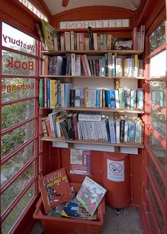 Phone booth library, Westbury Sub Mendip, Somerset, UK. - O.M.G. too awesome for words!