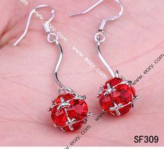 36x10mm Red 925 Sterling Silver Crystal Dangle Hook Earring Eardrop