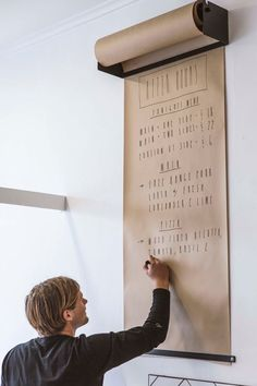Wall-mounted craft paper. #studio #shop #walls #kitchen #school #workshop #restaurant ideas #memo
