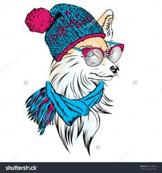Fox hat, scarf and glasses. Vector illustration. Hipster.