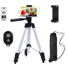Behomy Aluminum Smart Phone Camera Tripod ,Phone Tripod with Phone Holder and Bluetooth Shutter Control Remote,Tripod for iPhone,Android Smart phone and Camera with Storage Bag (Silver)