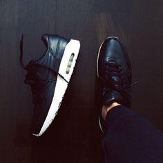 black leather Nike's