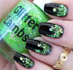 """Glitter Lambs """"Lime Green Eyeshadow"""" Glitter Topper Nail Polish """"Fashion Makeover Collection"""" Swatched by Dark Red Nails, Maroon Nails, Hot Pink Nails, Purple Nails, Black Nails, Glitter Nails, Fun Nails, Bright Nails Neon, Irish Nails"""