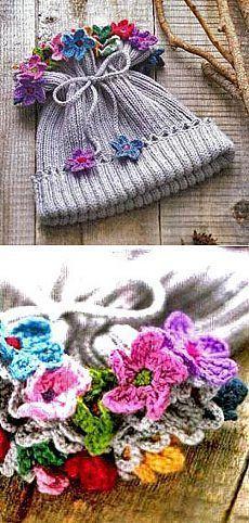 Детская шапочка с цветами для девочки | ВЯЗАНИЕ ШАПОК: женские шапки спицами и крючком, мужские и детские шапки, вязаные сумки