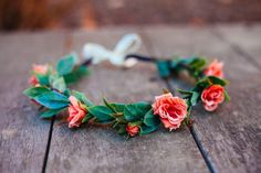 Coral Pink Hair Crown, Bohemian Flower Crown, Coral Accessory by KimArt, $50.00 #etsy