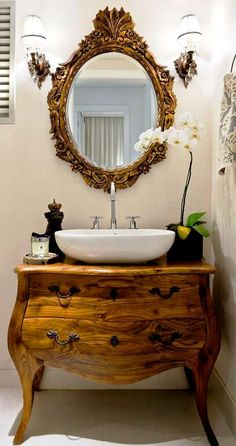 Antique With Modern Bath Vanity   Modern Vessel Sink With Gilt Mirror And  Bombé Chest