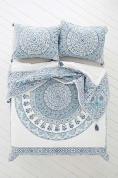 bohemian blue and white bedding