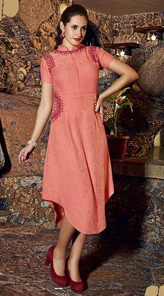 Stylish Peach Pure Linen Resham Work Long Tunic