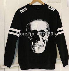 Street Wear Punk men's Fashion Casual Fleece Skull Head Print Pullover Hoodies/Sweatshirts Plus Size S-5xl