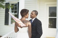Bayvue Estate | Gloucester, Virginia Wedding | Fourth of July patriotic wedding inspiration | Bride and groom portraits with American flag