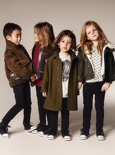 Shearling-lined parkas and aviator jackets - new season outerwear in the Burberry A/W14 childrenswear campaign
