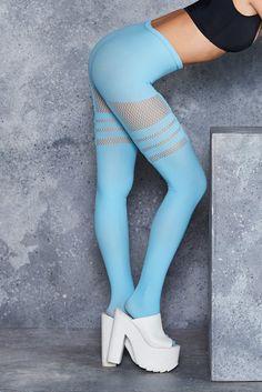 (X2) Sporty Stripes Powder Blue Hosiery - LIMITED