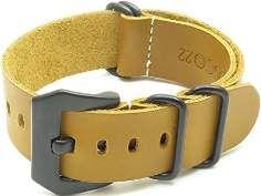 SALE 20% (19.99$) StrapsCo Leather G10 Nato Zulu Watch Strap in Amber w/ Black Pre-V Buckle size...