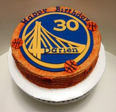 Basketball cake (golden state warriors)- buttercream frosting and fondant decorations
