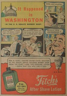 1945 FITCH AFTERSHAVE LOTION UNITED STATES SENATORS illustration comics BARBER SHOP Washington DC Capitol vintage advertisement 1940s Newspaper by Christian Montone, via Flickr