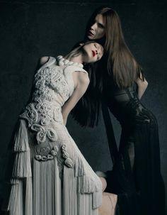 Models: Mariacarla Boscono and Saskia de Brauw  Hair: Eammon Hughes  Makeup: Yadim  Stylist: Katy England  Designer: Riccardo Tisci  Photographer: Matthew Stone