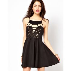 Reverse Skater Dress With Studded Bustier ($79) ❤ liked on Polyvore