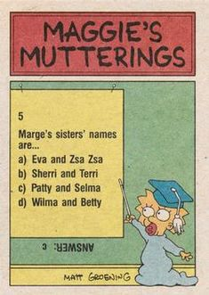 1990 Topps The Simpsons #78 Marge! Where's the personals section of today Back