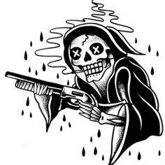 Scary Tattoos, Skeleton Tattoos, Skeleton Art, Tattoo Drawings, Body Art Tattoos, Traditional Black Tattoo, Dragon Tattoo Art, Fountain Pen Drawing, Grim Reaper Tattoo