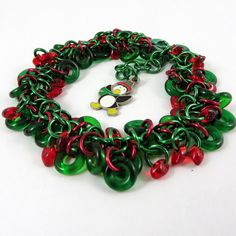 Christmas Bracelet Shaggy Loop Red Green by HCJewelrybyRose on Etsy