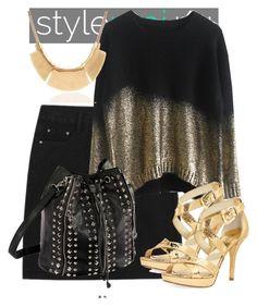 """StyleMoi.nu"" by deedee-pekarik ❤ liked on Polyvore featuring MICHAEL Michael Kors, gold, blackandgold, black and stylemoi"