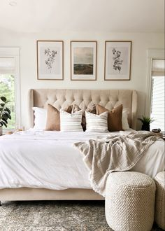 Add an ottoman to the end of your bed for more texture and a casual feel Casual Mom Style, Cottage Bedrooms, Cozy Cottage, Stone Flooring, Bedroom Inspiration, Apartment Ideas, Attic, Home Remodeling, Master Bedroom