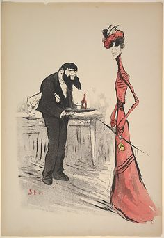 Georges Goursat [Sem]  (French, 1863–1934). A Woman in Red and a Waiter with a Forked Beard, ca. 1900. The Metropolitan Museum of Art, New York. Gift of Dr. Stephen K. and Janie Woo Scher, 2012 (2012.401.14)