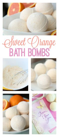 DIY Sweet Orange Bath Bombs. Perfect for a Mother's Day Gift Basket!