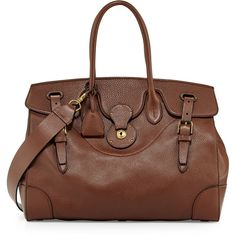 Ralph Lauren Soft Ricky 40 Leather Satchel Bag ($3,500) ❤ liked on Polyvore featuring bags, handbags, brown, handbags satchels, brown leather tote bag, man bag, brown leather satchel, brown leather tote and leather purses