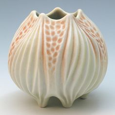 Carved porcelain pale yellow and orange squat by robertapolfus, $62.00