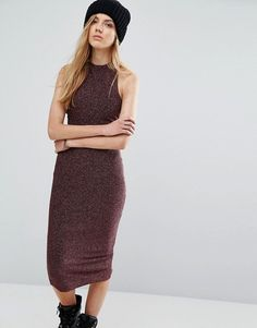 Pull&Bear Metallic Knitted Cross Back Detail Mid Dress