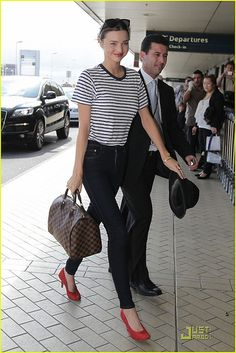 Miranda Kerr wearing Flint Hasta Luego Sunglasses, Maison Martin Margiela Paillette-Embellished Peep-Toe Pumps, Louis Vuitton Damier Speedy Bassike Navy and White Striped Linen Tee and Nobody Cult Skinny Jeans in Addict. Louis Vuitton Totes, Louis Vuitton Handbags, Louis Vuitton Damier, Lv Handbags, Louis Vuitton Speedy 30, Vuitton Bag, Fashion Handbags, Leather Handbags, Kate Bosworth