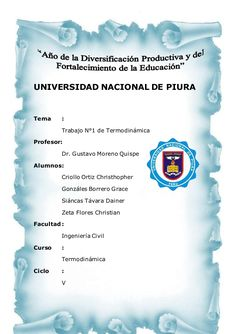 universidad nacional de piura tema trabajo n1 de termodinmica profesor dr