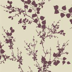 Kensington Wallpaper in Plum | AmericanBlinds.com #purple #branches #leaves #botanical #silhouettes #garden #floral