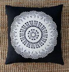 Pillowcase. Linen. Recycled crochet tablecloth. By Johanna Sandberg.