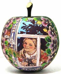 Green Apple treasury box traditional Russian art by Viktoriyasshop
